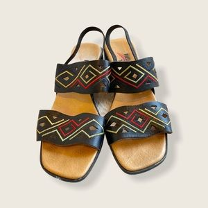 Pikolinos Leather Strap Sandals Tribal Embroidered